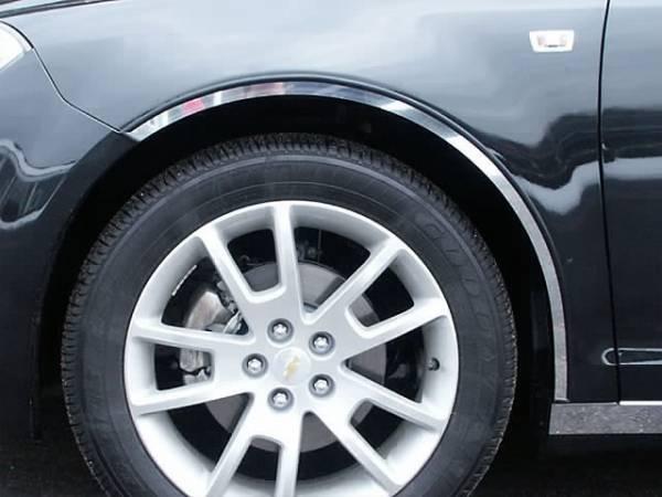 QAA - Chevrolet Malibu 2008-2012, 4-door, Sedan (4 piece Stainless Steel Wheel Well Accent Trim full length With 3M adhesive installation and black rubber gasket edging.) WQ48105 QAA