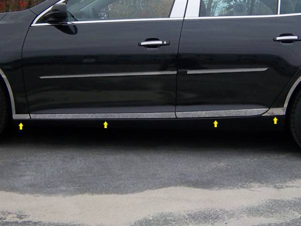 """QAA - Chevrolet Malibu 2013-2015, 4-door, Sedan (8 piece Stainless Steel Rocker Panel Trim, Lower Kit 1.375"""" - 2.125"""" tapered Width Spans from the bottom of the door UP to the specified width.) TH53105 QAA"""