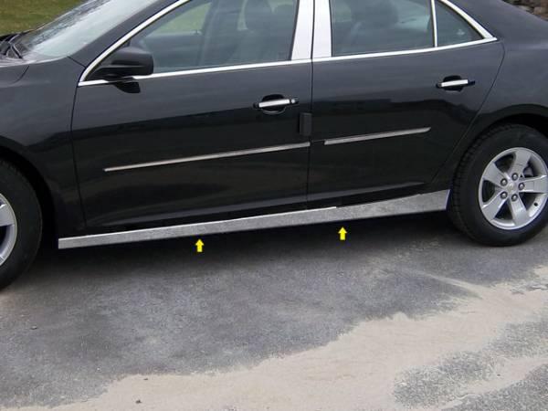 """QAA - Chevrolet Malibu 2013-2015, 4-door, Sedan (4 piece Stainless Steel Rocker Panel Trim, On the rocker 2.5"""" Width Installs below the door.) TH53106 QAA"""
