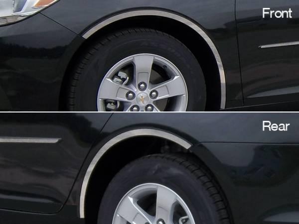QAA - Chevrolet Malibu 2013-2015, 4-door, Sedan (4 piece Stainless Steel Wheel Well Accent Trim full length With 3M adhesive installation and black rubber gasket edging.) WQ53106 QAA