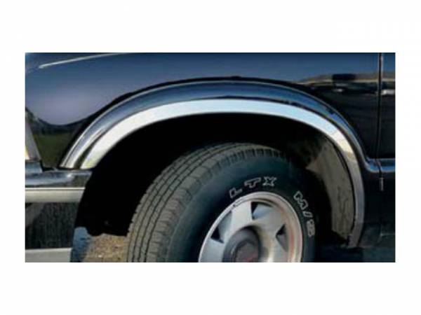 QAA - Chevrolet S-10 1994-2004, 2-door, Pickup Truck (4 piece Molded Stainless Steel Wheel Well Fender Trim Molding FULL LENGTH Clip on or screw in installation, Lock Tab and screws, hardware included.) WZ34190 QAA
