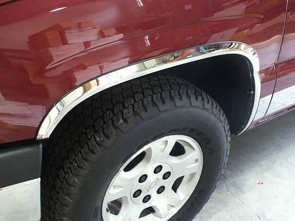 "QAA - Chevrolet Silverado 1999-2006, 2-door, 4-door, Pickup Truck (4 piece Molded Stainless Steel Wheel Well Fender Trim Molding 1.75"" Width Clip on or screw in installation, Lock Tab and screws, hardware included.) WZ39181-L QAA"