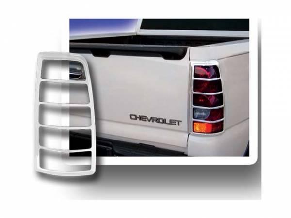 QAA - Chevrolet Silverado 2003-2006, 2-door, 4-door, Pickup Truck (2 piece Chrome Plated ABS plastic Tail Light Bezels ) TL43182 QAA