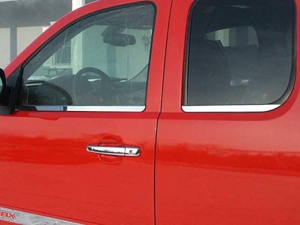 QAA - Chevrolet Silverado 2007-2013, 4-door, Pickup Truck, Extended Cab (4 piece Stainless Steel Window Sill Trim Set ) WS47185 QAA