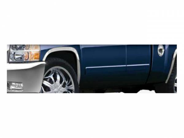 "QAA - Chevrolet Silverado 2007-2013, 2-door, 4-door, Pickup Truck, 1500 (4 piece Molded Stainless Steel Wheel Well Fender Trim Molding 1.75"" Width Clip on or screw in installation, Lock Tab and screws, hardware included.) WZ47181 QAA"