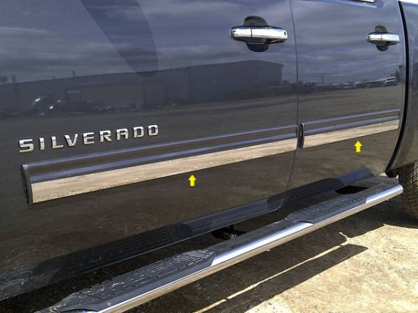 "QAA - Chevrolet Silverado 2009-2013, 4-door, Pickup Truck, Crew Cab (4 piece Stainless Steel Rocker Panel Trim, Insert Kit 1.8125"" Width Side Molding.) TH49184 QAA"