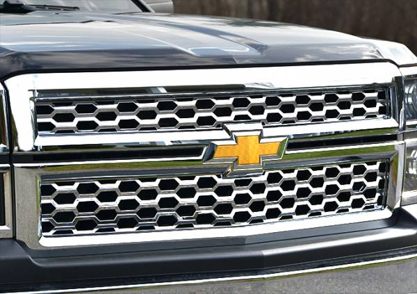 QAA - Chevrolet Silverado 2014-2015, 2-door, 4-door, Pickup Truck, 1500, 1WT, 2WT, LT (2 piece Chrome Plated ABS plastic Grill Overlay Insert ) SGC54184 QAA