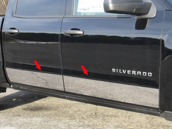 "QAA - Chevrolet Silverado 2014-2018, 4-door, Pickup Truck, Crew Cab, NO Factory Molding (4 piece Stainless Steel Rocker Panel Trim, Upper Kit 6+(0.875)"" Width, On the Doors Only Spans from the bottom of the molding DOWN to the specified width.) TH54184 QAA"