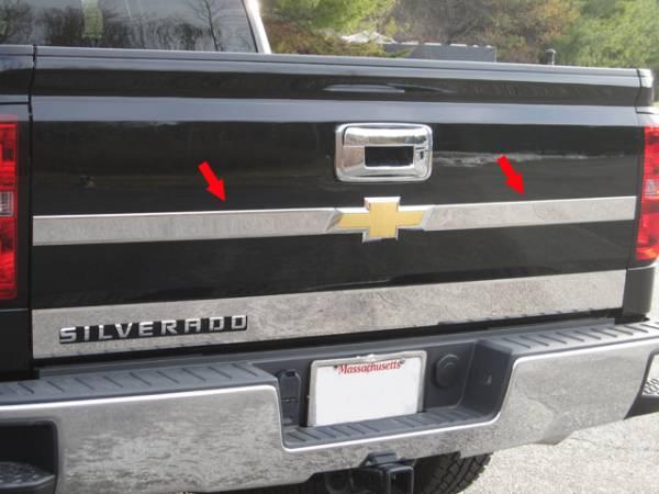 QAA - Chevrolet Silverado 2014-2018, 2-door, 4-door, Pickup Truck (2 piece Stainless Steel Tailgate Accent Trim ) TP54181 QAA