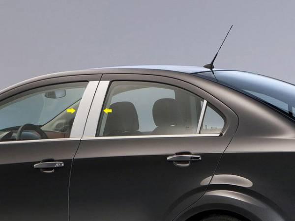 QAA - Chevrolet Sonic 2012-2020, 4-door, Sedan, Hatchback (4 piece Stainless Steel Pillar Post Trim ) PP53120 QAA
