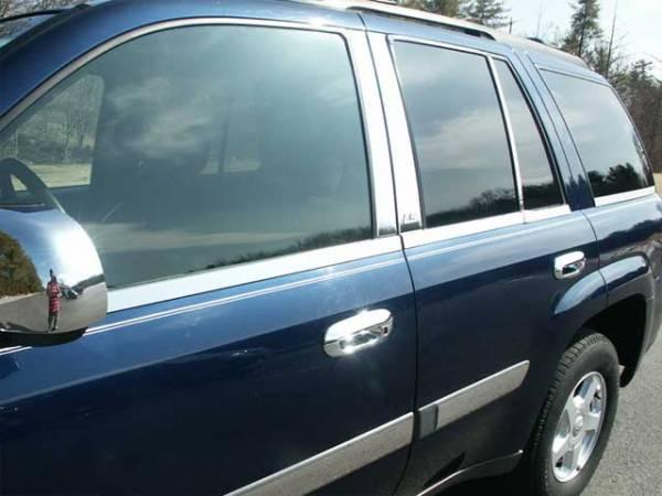 QAA - Chevrolet Trailblazer 2002-2008, 4-door, SUV (10 piece Stainless Steel Window Sill Trim Set Regular Cab - NOT EXTENDED ) WS42290 QAA