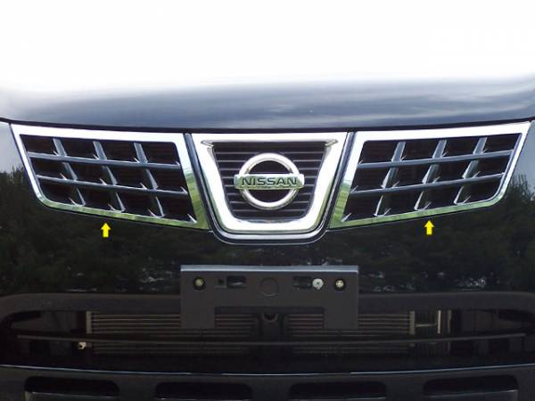 QAA - Nissan Rogue 2008-2013, 4-door, SUV (2 piece Stainless Steel Front Grille Accent Trim Surround ONLY ) SG28535 QAA