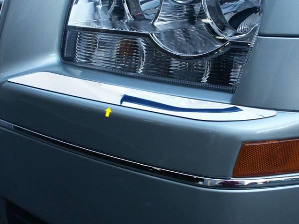 QAA - Chrysler 300 2005-2009, 4-door, Sedan, Base Model ONLY (2 piece Stainless Steel Bumper Cap Trim Accent Front ) BC45760 QAA