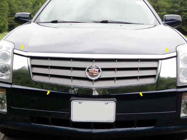 QAA - Cadillac SRX 2004-2009, 4-door, SUV (4 piece Stainless Steel Front Grille Accent Trim Does not work for models w/ headlight washers ) SG44260 QAA