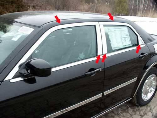 QAA - Chrysler 300 2005-2010, 4-door, Sedan, Base Model ONLY (10 piece Stainless Steel Window Trim Package Includes Upper Trim and Pillar Posts, NO Window Sills ) WP45760 QAA