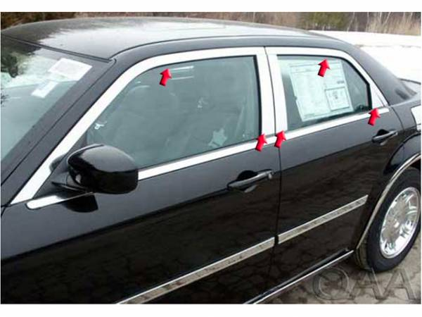 QAA - Chrysler 300 2005-2010, 4-door, Sedan, C-Model ONLY (10 piece Stainless Steel Window Trim Package Includes Upper Trim and Pillar Posts, NO Window Sills, Cut for the model with Factory Chrome ) WP45766 QAA