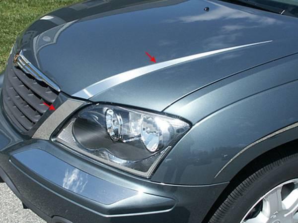 QAA - Chrysler Pacifica 2004-2007, 4-door, SUV (4 piece Stainless Steel Hood Accent Trim ) HT44750 QAA