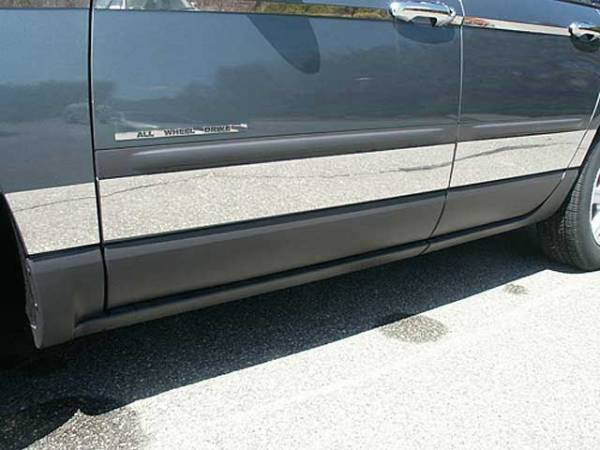 """QAA - Chrysler Pacifica 2004-2008, 4-door, SUV (8 piece Stainless Steel Rocker Panel Trim, Upper Kit 4.75"""" - 6"""" tapered Width Spans from the bottom of the molding DOWN to the specified width.) TH44750 QAA"""