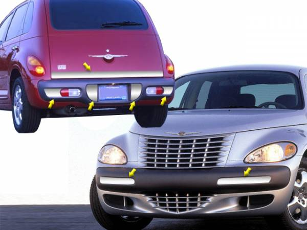 QAA - Chrysler PT Cruiser 2001-2001, 4-door, Hatchback (7 piece Stainless Steel Bumper Package Front and Rear Accent with Tailgate Insert ) BP41700-1 QAA