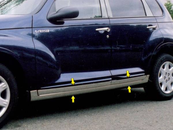 "QAA - Chrysler PT Cruiser 2001-2010, 4-door, Hatchback (8 piece Stainless Steel Rocker Panel Trim, Lower Kit 5"" Width Spans from the bottom of the door UP to the specified width.) TH41700 QAA"