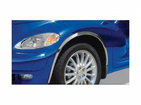 QAA - Chrysler PT Cruiser 2001-2010, 4-door, Hatchback (4 piece Molded Stainless Steel Wheel Well Fender Trim Molding Clip on or screw in installation, Lock Tab and screws, hardware included.) WZ41700 QAA