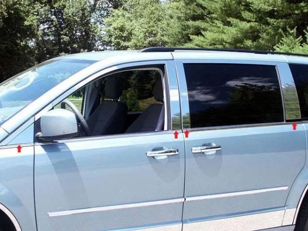 QAA - Chrysler Town & Country 2008-2016, 4-door, Minivan (8 piece Stainless Steel Pillar Post Trim ) PP48897 QAA