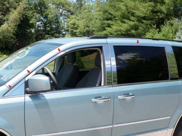 QAA - Chrysler Town & Country 2008-2016, 4-door, Minivan (8 piece Stainless Steel Window Trim Package Includes Upper Trim only, NO Pillar Posts, NO window sills, Includes two Upper pieces above and in front of mirror ) WP48896 QAA