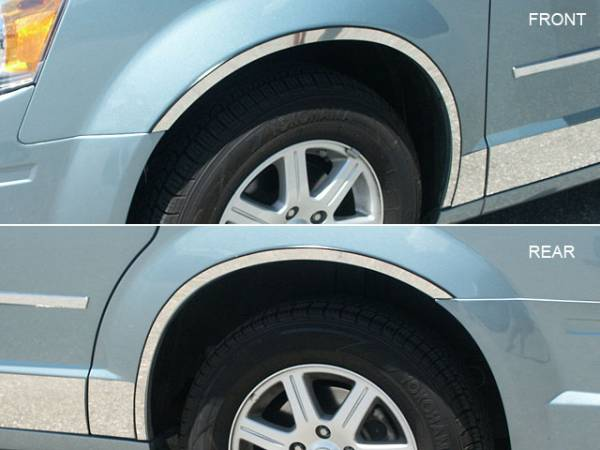 QAA - Chrysler Town & Country 2008-2016, 4-door, Minivan (4 piece Stainless Steel Wheel Well Accent Trim full length With 3M adhesive installation and black rubber gasket edging.) WQ48895 QAA