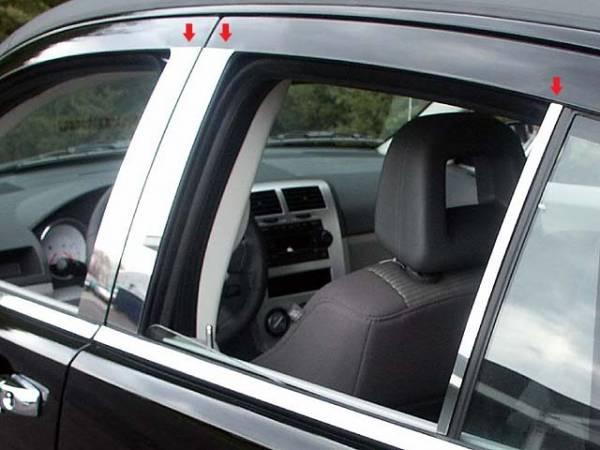 QAA - Dodge Caliber 2007-2012, 4-door, Hatchback (6 piece Stainless Steel Pillar Post Trim ) PP47951 QAA