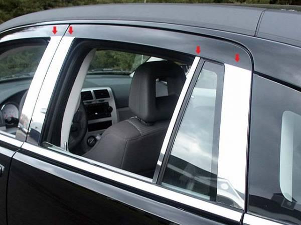 QAA - Dodge Caliber 2007-2012, 4-door, Hatchback (8 piece Stainless Steel Pillar Post Trim ) PP47952 QAA
