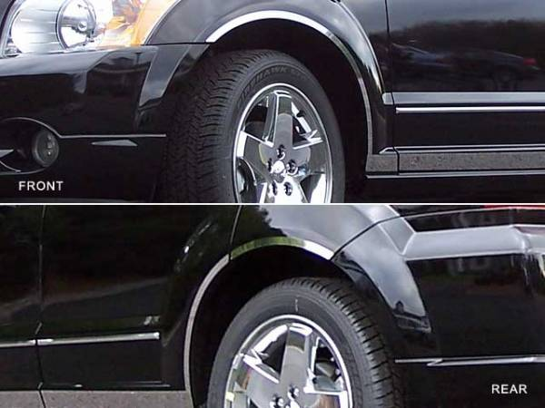 QAA - Dodge Caliber 2007-2012, 4-door, Hatchback (6 piece Stainless Steel Wheel Well Accent Trim With 3M adhesive installation and black rubber gasket edging.) WQ47950 QAA