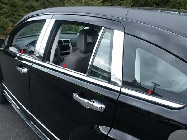 QAA - Dodge Caliber 2007-2012, 4-door, Hatchback (6 piece Stainless Steel Window Sill Trim Set ) WS47950 QAA