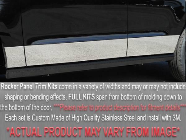 "QAA - Dodge Caravan 1996-2000, 3-door, Minivan (7 piece Stainless Steel Rocker Panel Trim, Full Kit 8.25"" - 9.25"" tapered Width Spans from the bottom of the molding to the bottom of the door.) TH36891 QAA"