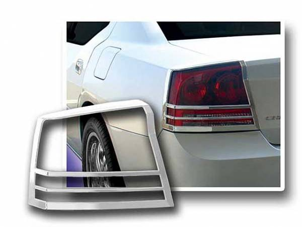 QAA - Dodge Charger 2006-2010, 4-door, Sedan (2 piece Chrome Plated ABS plastic Tail Light Bezels ) TL46910 QAA