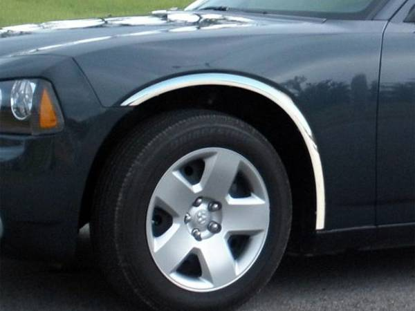 QAA - Dodge Charger 2006-2010, 4-door, Sedan (4 piece Molded Stainless Steel Wheel Well Fender Trim Molding Clip on or screw in installation, Lock Tab and screws, hardware included.) WZ46910 QAA