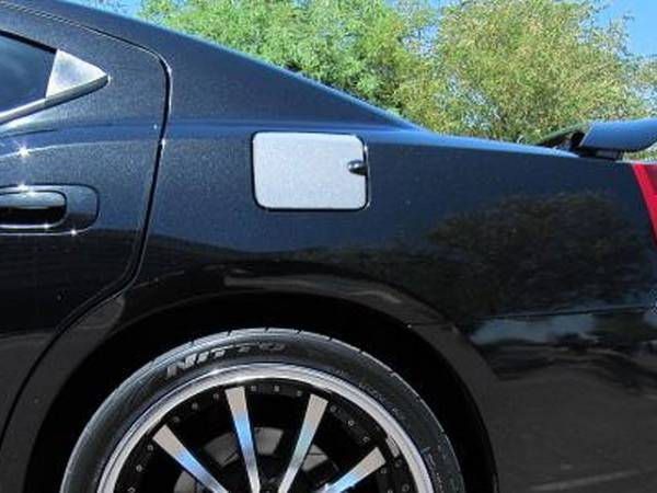 QAA - Dodge Charger 2008-2010, 4-door, Sedan (1 piece Stainless Steel Gas Door Cover Trim Warning: This is NOT a replacement cap. You MUST have existing gas door to install this piece With notch for finger grip contour) GC48910 QAA
