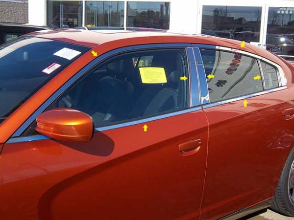 QAA - Dodge Charger 2011-2020, 4-door, Sedan (14 piece Stainless Steel Window Trim Package Includes Upper Trim, Pillar Posts and Window Sills - FULL Package ) WP51910 QAA