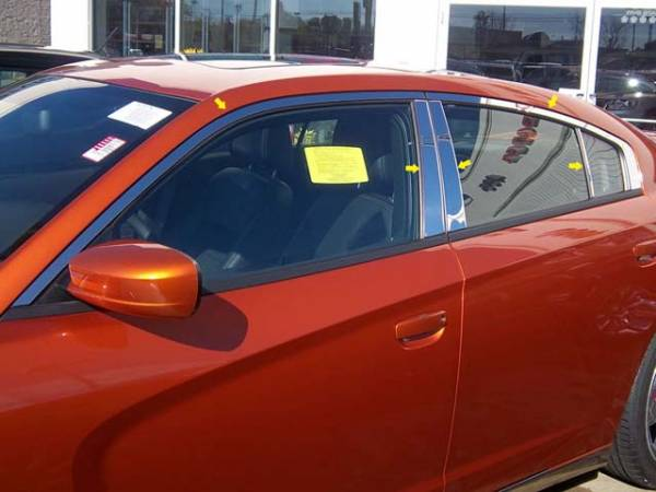 QAA - Dodge Charger 2011-2020, 4-door, Sedan (10 piece Stainless Steel Window Trim Package Includes Upper Trim and Pillar Posts, NO Window Sills ) WP51911 QAA