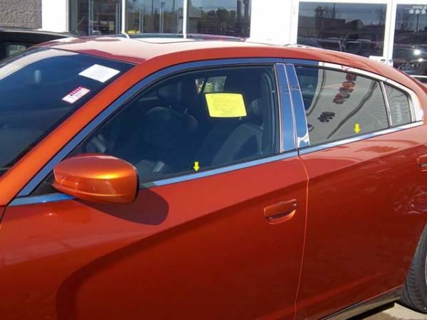 QAA - Dodge Charger 2011-2020, 4-door, Sedan (4 piece Stainless Steel Window Sill Trim Set ) WS51910 QAA
