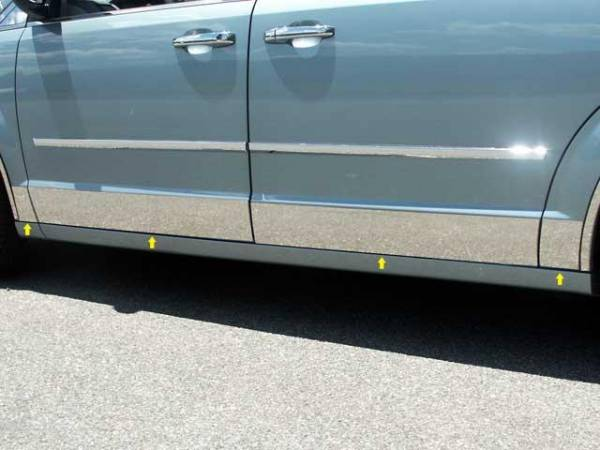"""QAA - Dodge Grand Caravan 2008-2020, 4-door, Minivan (8 piece Stainless Steel Rocker Panel Trim, Lower Kit 5.5"""" Width, cut back to flare Spans from the bottom of the door UP to the specified width.) TH48895 QAA"""