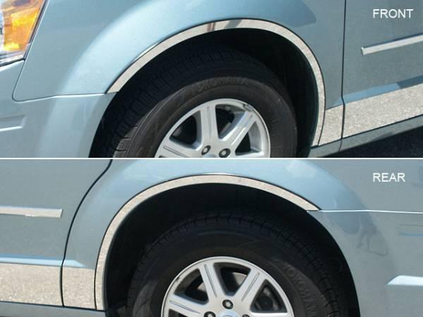 QAA - Dodge Grand Caravan 2008-2020, 4-door, Minivan (4 piece Stainless Steel Wheel Well Accent Trim full length With 3M adhesive installation and black rubber gasket edging.) WQ48895 QAA