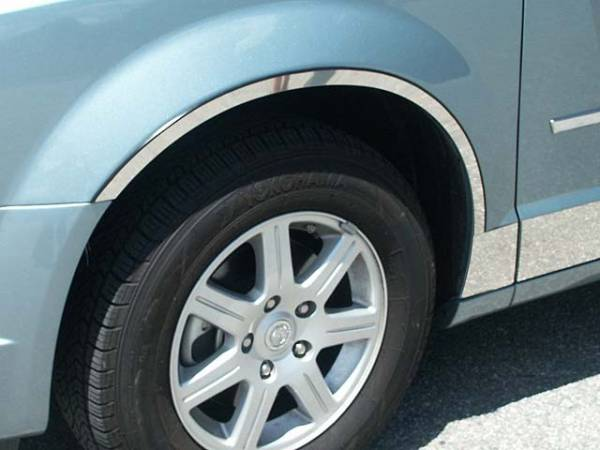 QAA - Dodge Grand Caravan 2008-2020, 4-door, Minivan (4 piece Stainless Steel Wheel Well Accent Trim cut to fit with Rocker kit TH48896 sold separately With 3M adhesive installation and black rubber gasket edging.) WQ48896 QAA