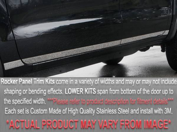 """QAA - Dodge Intrepid 1993-1995, 4-door, Sedan (8 piece Stainless Steel Rocker Panel Trim, Lower Kit 6.5"""" - 7.5"""" tapered Width Spans from the bottom of the door UP to the specified width.) TH33910 QAA"""