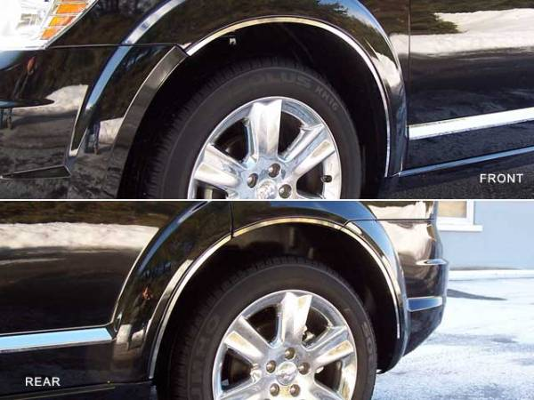 QAA - Dodge Journey 2009-2020, 4-door, SUV (8 piece Stainless Steel Wheel Well Accent Trim With 3M adhesive installation and black rubber gasket edging.) WQ49945 QAA