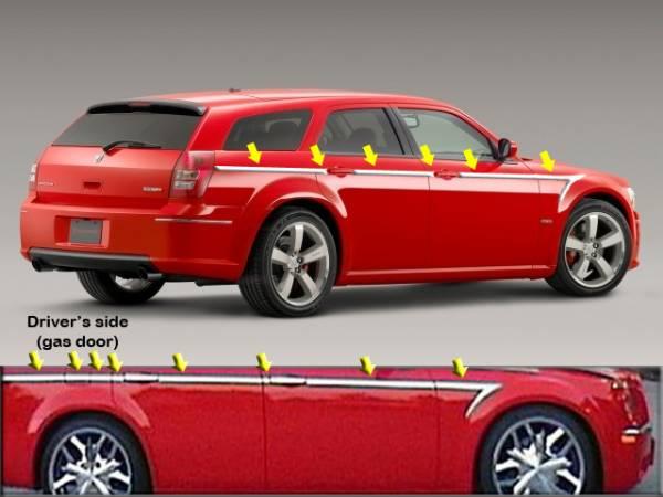"QAA - Dodge Magnum 2005-2008, 4-door, Wagon (14 piece Stainless Steel Body Side Molding Accent Trim Arrow - 1.25"" wide ) AT45920 QAA"