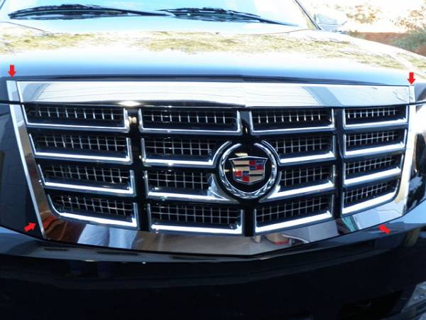 QAA - Cadillac Escalade 2007-2014, 4-door, SUV (4 piece Stainless Steel Front Grille Accent Trim Does NOT fit Premium Models) SG47255 QAA