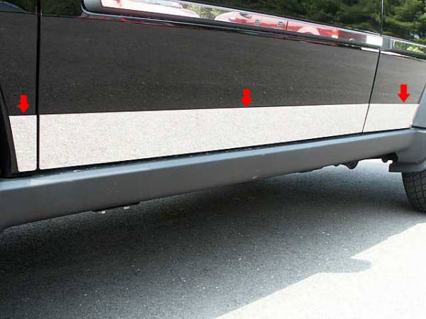 """QAA - Dodge Nitro 2007-2011, 4-door, SUV (6 piece Stainless Steel Rocker Panel Trim, Lower Kit 3.75"""" Width Spans from the bottom of the door UP to the specified width.) TH47940 QAA"""