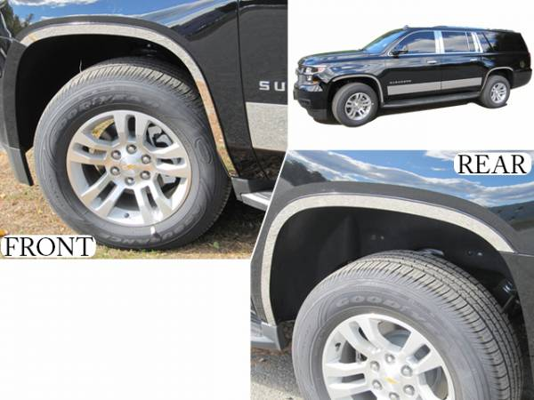 """QAA - Chevrolet Suburban 2015-2020, 4-door, SUV (4 piece Stainless Steel Wheel Well Accent Trim 1.5"""" Width With 3M adhesive installation and black rubber gasket edging.) WQ55198 QAA"""