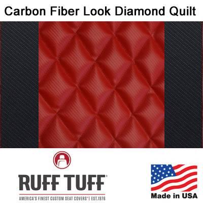 RuffTuff - Carbon Fiber Look Diamond Quilt Inserts With Carbon Fiber Trim Seat Covers