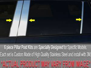 Chrome Trim - Pillar Trim - QAA - BMW 3 Series 1999-2005, 4-door, Sedan (6 piece Stainless Steel Pillar Post Trim ) PP25906 QAA